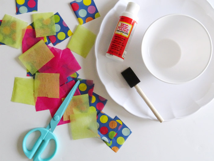 DIY Tissue Paper Decoupage Serving Dish