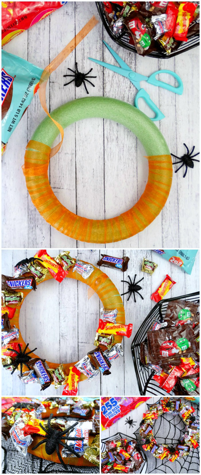 then i decided to use some of our candy to make a diy halloween candy wreath to hang on my neighbors door and made small baskets of candy for our other - Halloween Candy Wreath