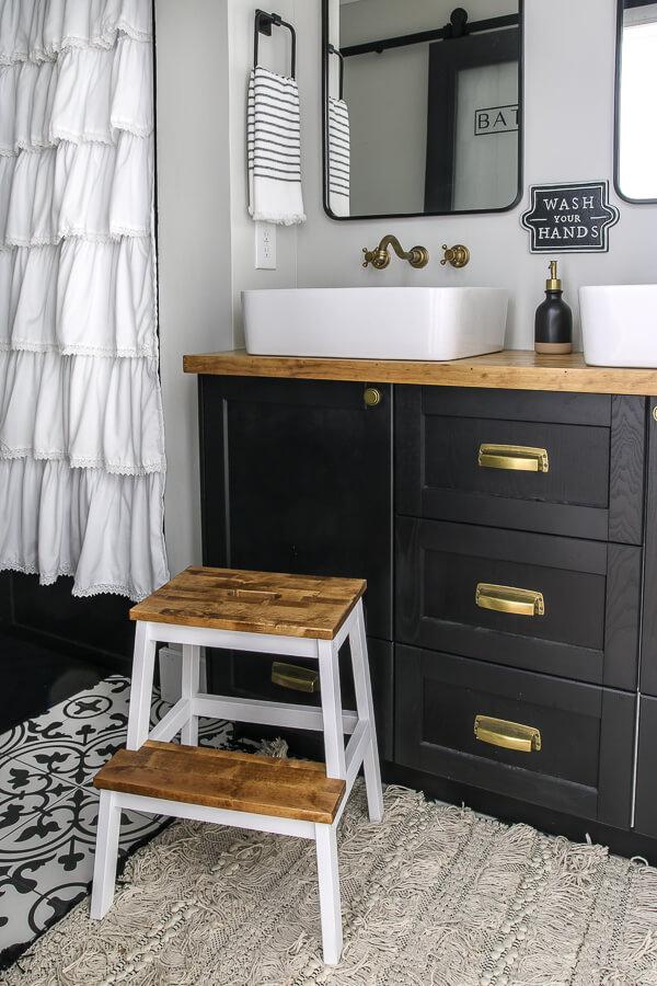 Ikea kitchen cabinets for vanity with butcher block top | Living Letter Home #guestbathroom #beforeandafter #bathroomrenovation #budgetbathroomremodel #smallbathroom