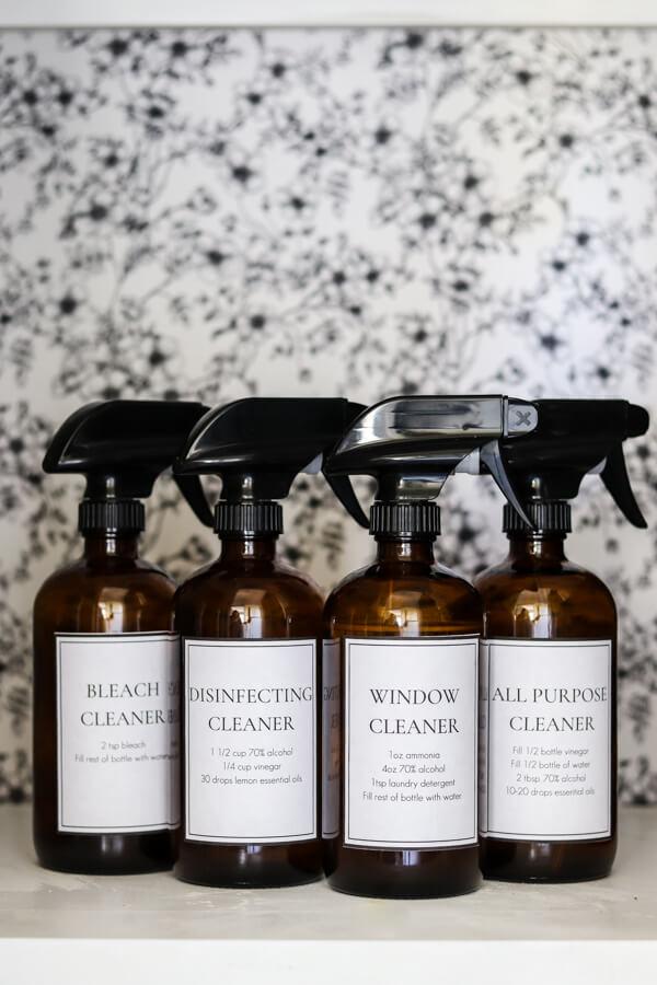 4 DIY cleaner bottles on a shelf