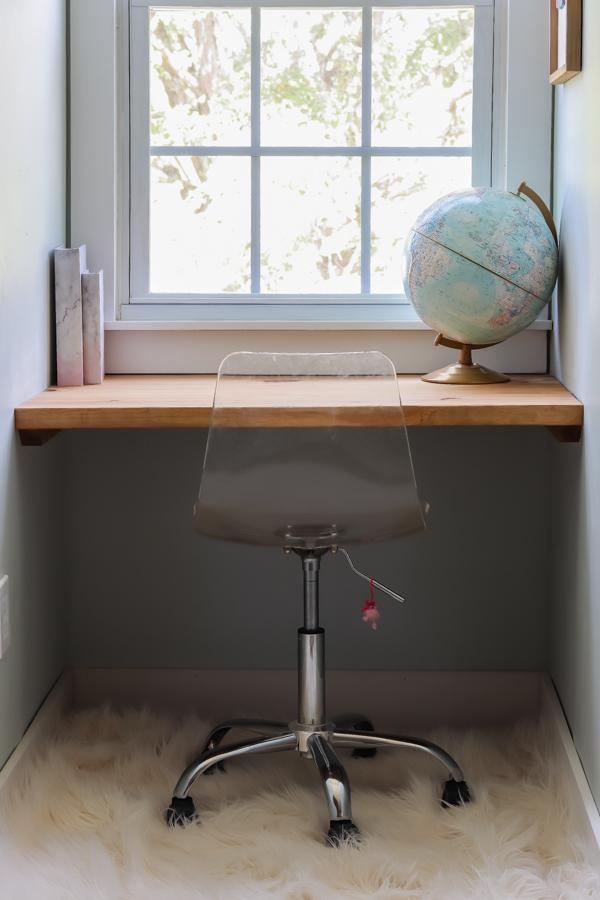 DIY built in desk in a dormer