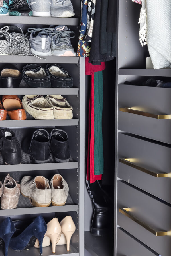 Ikea AURDAL gray unit drawers and stacked shoes