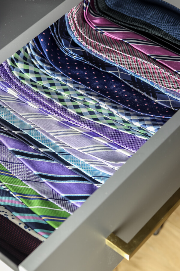 organized ties in a drawer