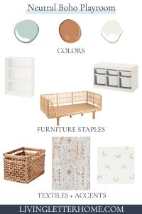 Neutral boho playroom design elements