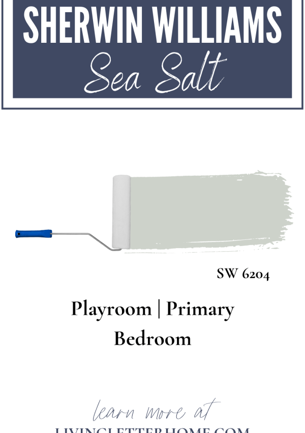 Sherwin Williams Sea Salt graphic with words describing where in the house it is. playroom and primary bedroom