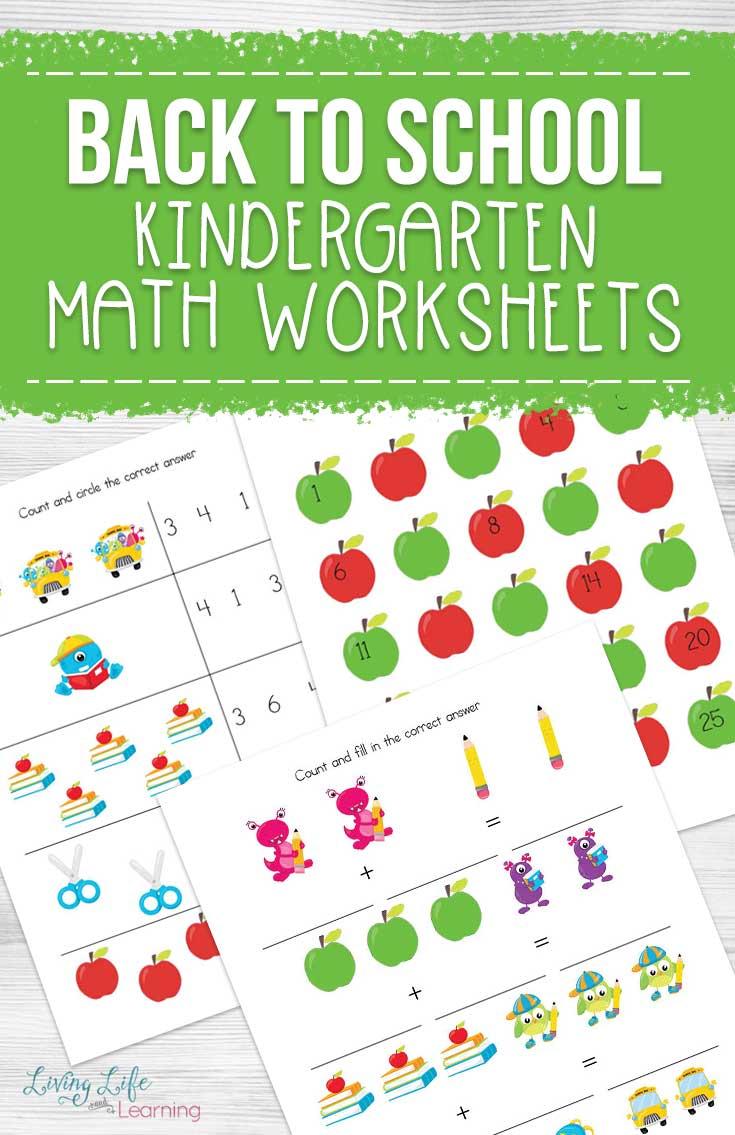 hight resolution of Back to School Kindergarten Math Worksheets