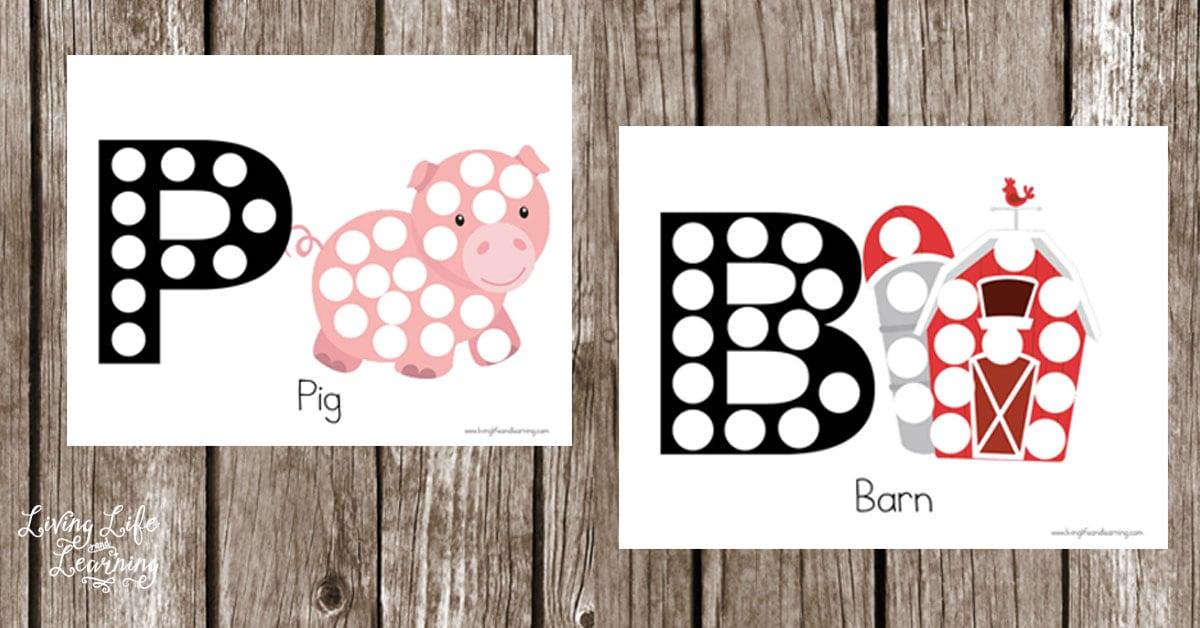 Farm Dot Letter Coloring Pages