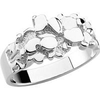 Men's 10k White Gold Nugget Ring - Boomer Style ...