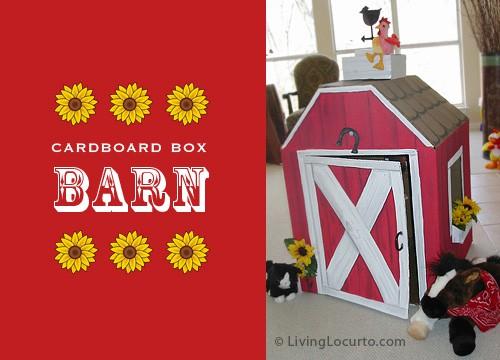 Cardboard Box Barn DIY Play House For Kids