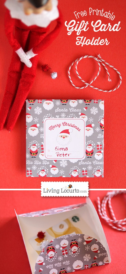 Free Printable Santa Paper Gift Card Holder for DIY Christmas Gifts by Amy at LivingLocurto.com.
