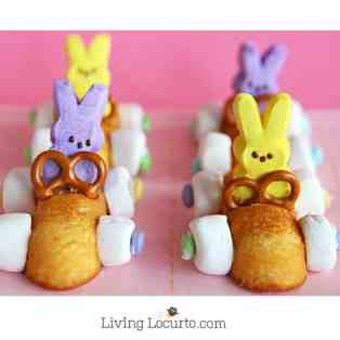 Easter Bunny Race Car Treats with Peeps. Easy No Bake Easter Treats! A few ideas that you can do in minutes with Peeps. Great treat for kids to make themselves. LivingLocurto.com