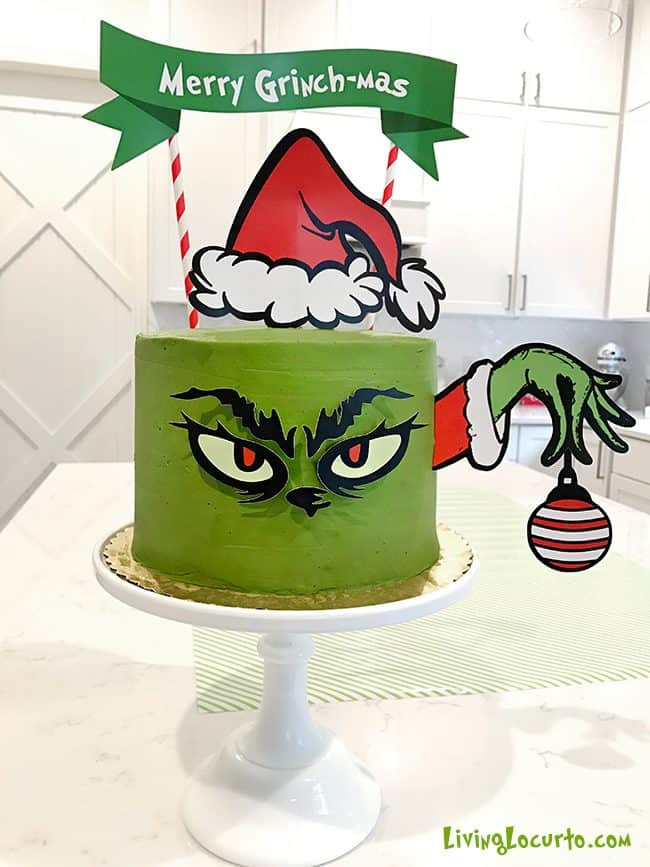 The Grinch makes an adorable Christmas party theme and this Merry Grinch-mas green Grinch cake will be the hit of your holiday celebration! #grinch #cake