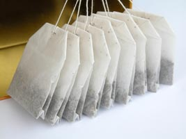 Tea bags can be used for tea dying or t otreat headches or puffy eyes