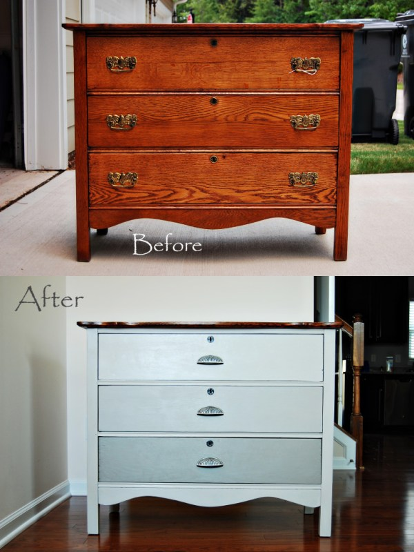 Living on Saltwater - Dresser Before & After Chalk Paint, French Linen, Pure White, Ombre Drawers