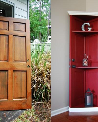 Living on Saltwater - Repurposed Wooden Door - Corner Bookcase
