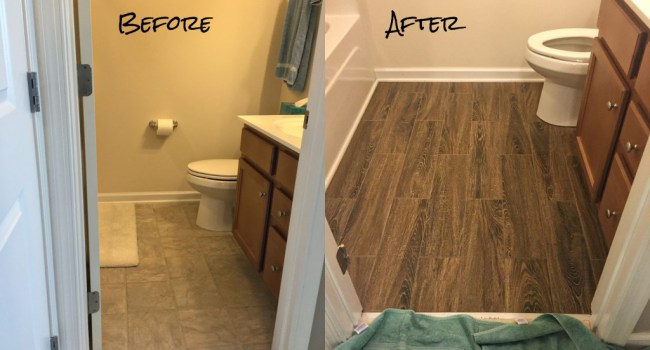 Living on Saltwater - Guest Bathroom Tiling - Before and After