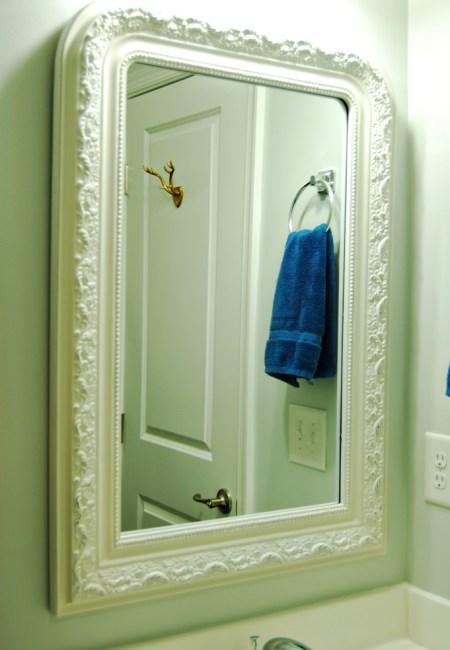 Living on Saltwater - Guest Bathroom Update - Mirror - Antler Hook