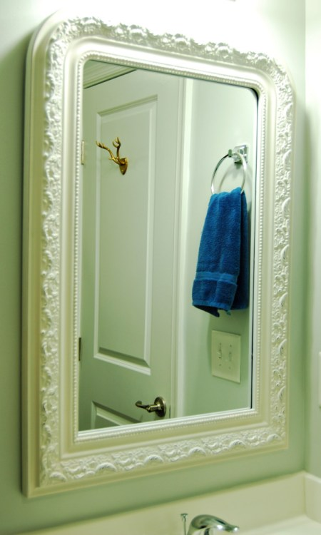 Living on Saltwater - Guest Bathroom Update - Mirror - Antler Hook - Gray - Navy
