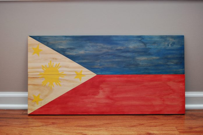 Living on Saltwater - Stained Wooden Flag - Filipino Flag