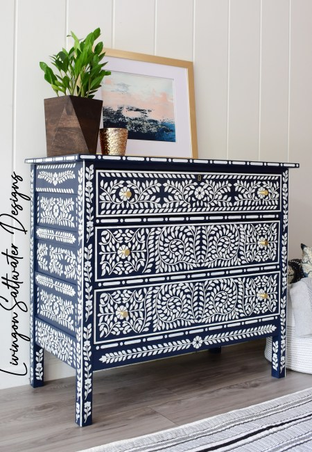 Living on Saltwater - Faux Bone Inlay Stencil Dresser