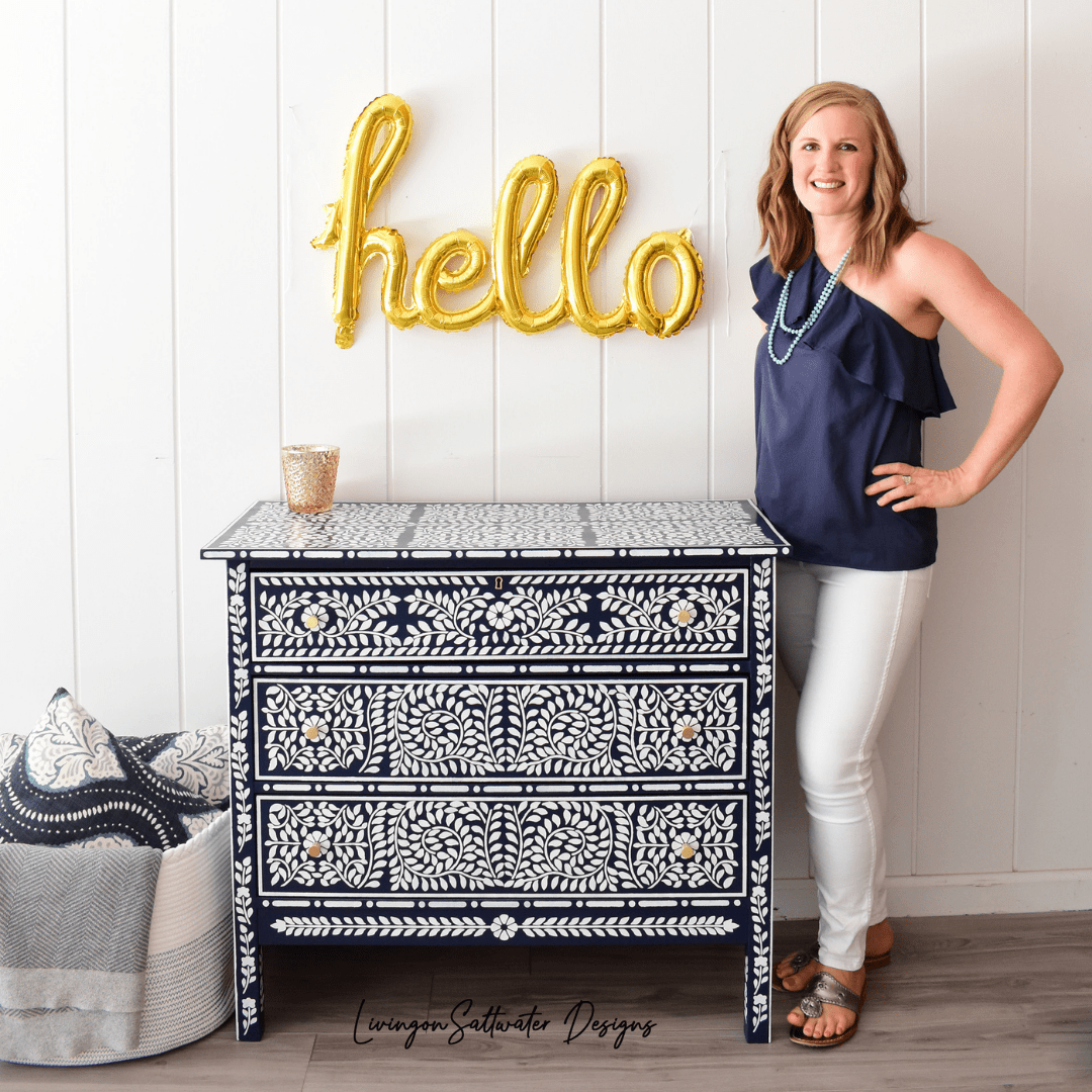 Caroline from Living On Saltwater Designs, Furniture Artist in North Carolina