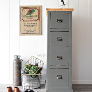 Antique Farmhouse Wooden File Cabinet
