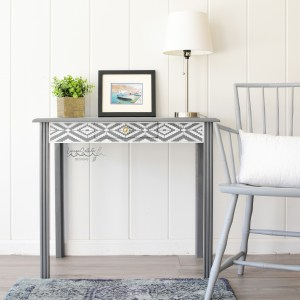 Beautiful Stenciled Entry Way Table - Bone Inlay Table - By Living on Saltwater - Raleigh NC
