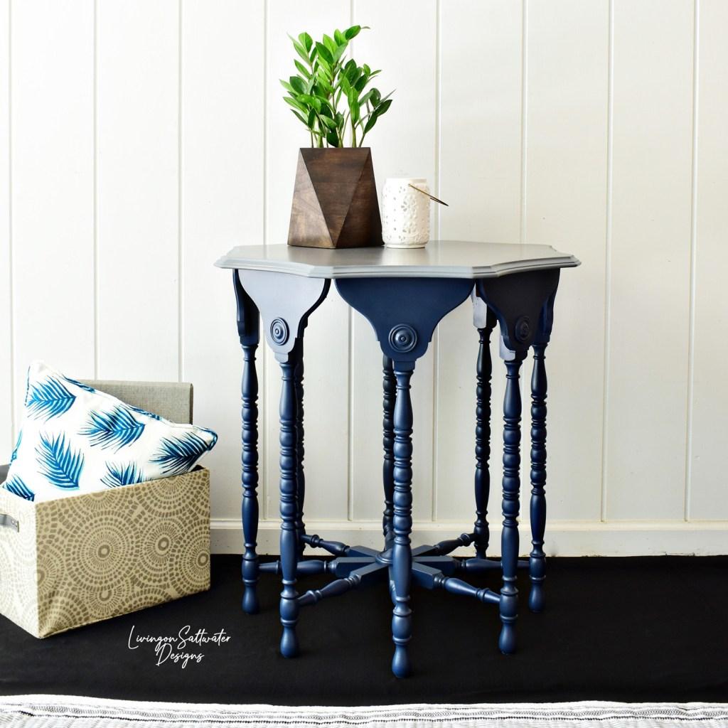 Living on Saltwater - Furniture Refinishing - Navy Painted Furniture