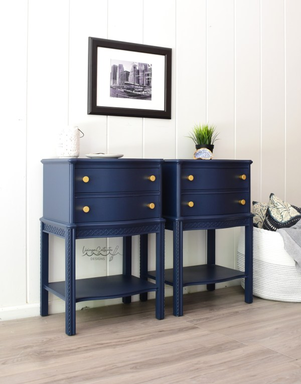 Vintage Navy Nightstands - Antique Navy Nightstand by Living on Saltwater - Raleigh, NC