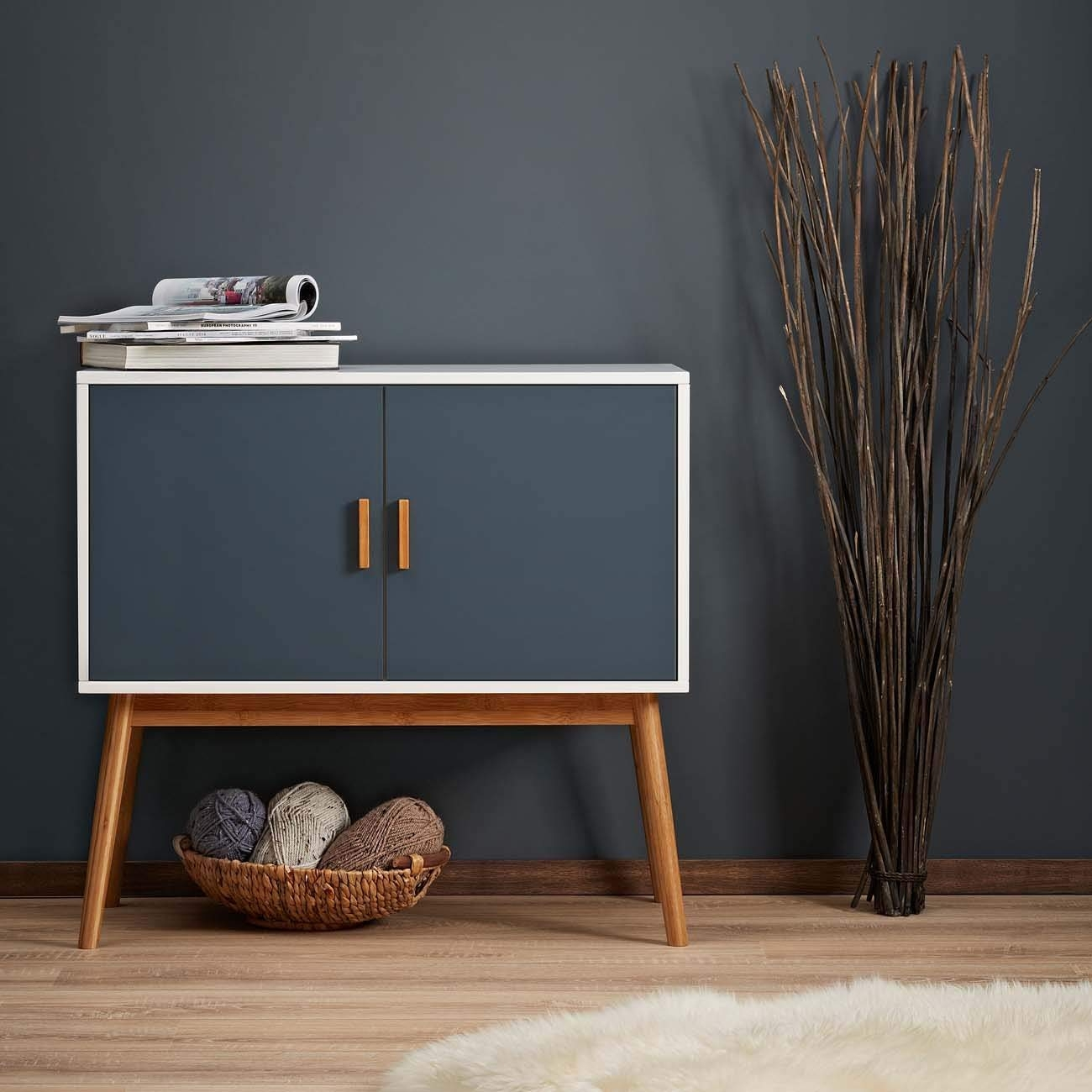 Retro Vintage Wooden Sideboard Storage Cabinet Doors Grey