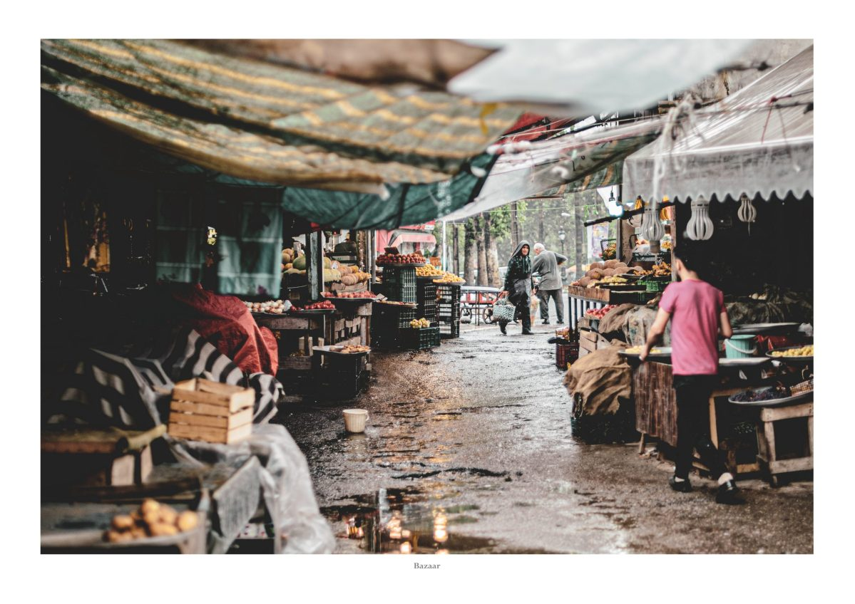 market, local bazaar, rain, food