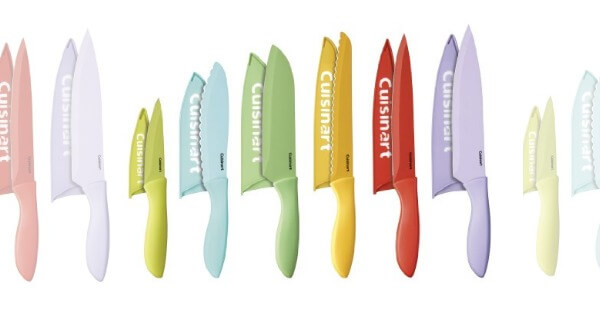 ceramic kitchen knives glass knobs new pastel colors! cuisinart 12-piece coated color ...