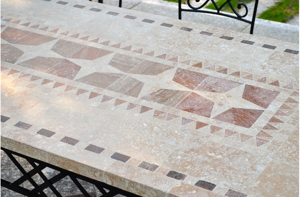 marble top kitchen table discount granite countertops outdoor garden 160-200-240cm mosaic natural stone ...