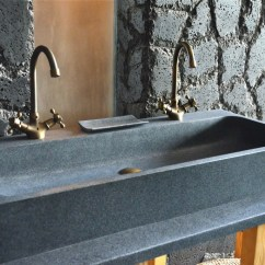 Standard Size Kitchen Sink Island With Table 1000mm Double Trough Granite Stone Bathroom - Looan
