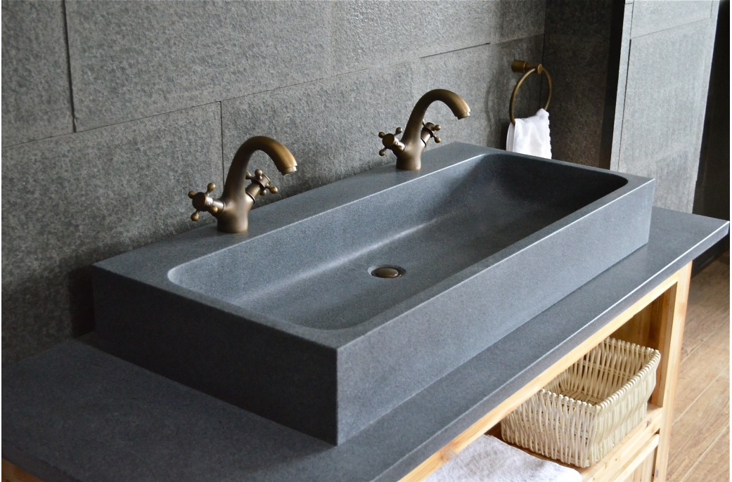 1000mm Double Trough Granite Stone Bathroom Sink  LOOAN