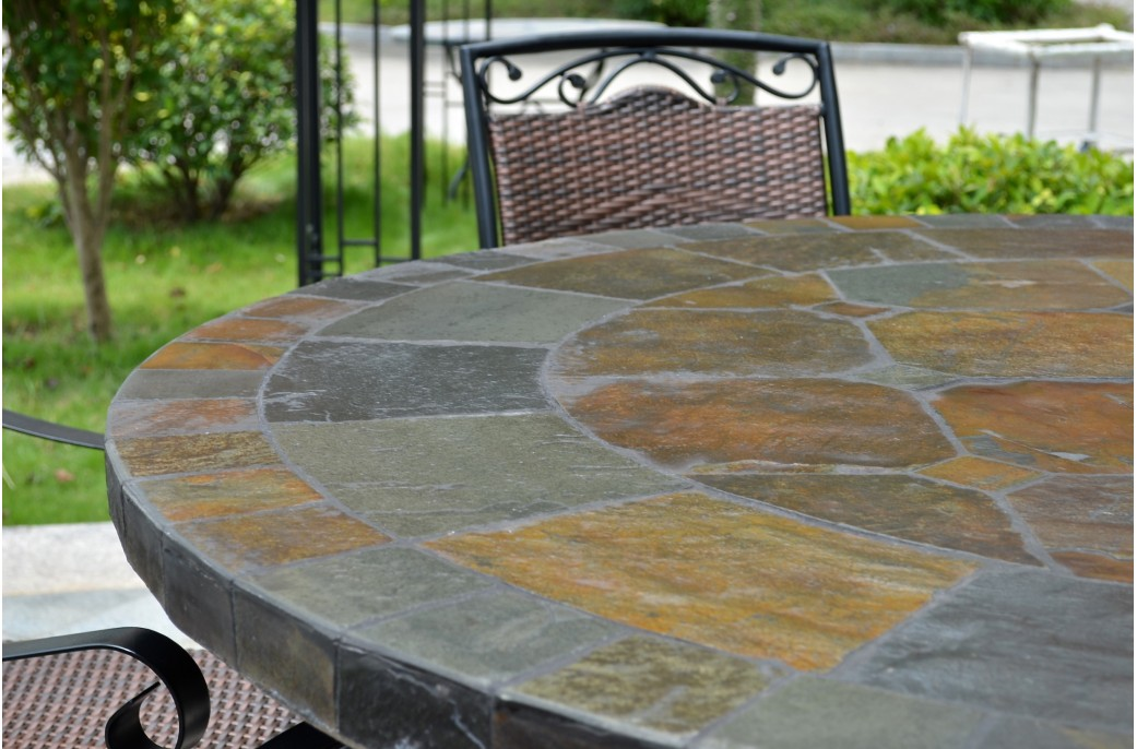 round table 6 chairs dimensions safavieh leather dining 125-160cm slate patio tiled mosaic - oceane