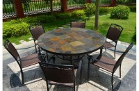 125-160cm Round Slate Patio Dining Table Tiled Mosaic - OCEANE