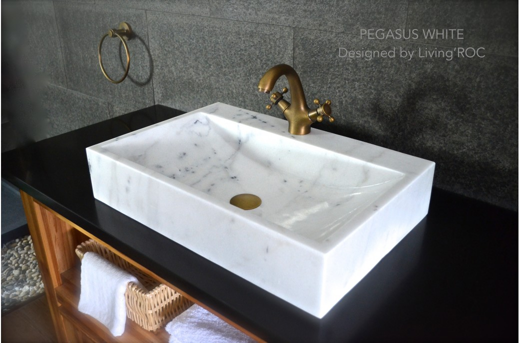 600 White Marble Basin Bathroom Sink  faucet hole PEGASUS WHITE