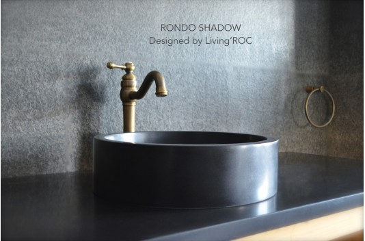 round marble table and chairs toddler rocking 400mm black basalt stone bathroom basin - rondo dark