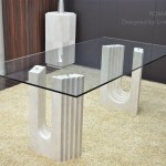 2000mm Travertine Marble Dining Table Glass Roma
