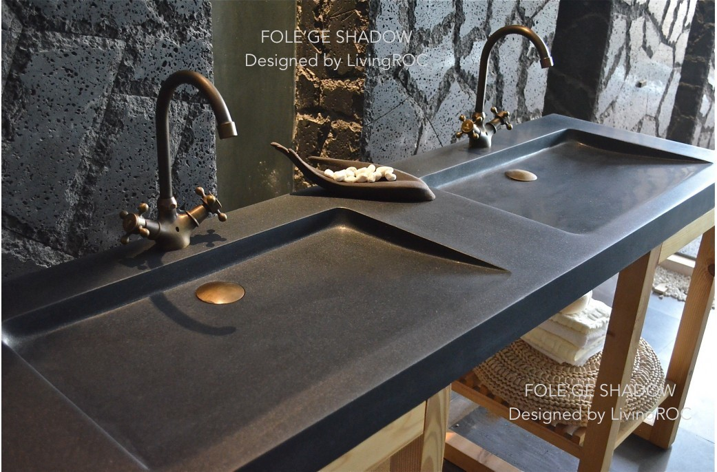 slate kitchen faucet island chairs with backs 160x50cm double trough basin uk black granite bathroom ...