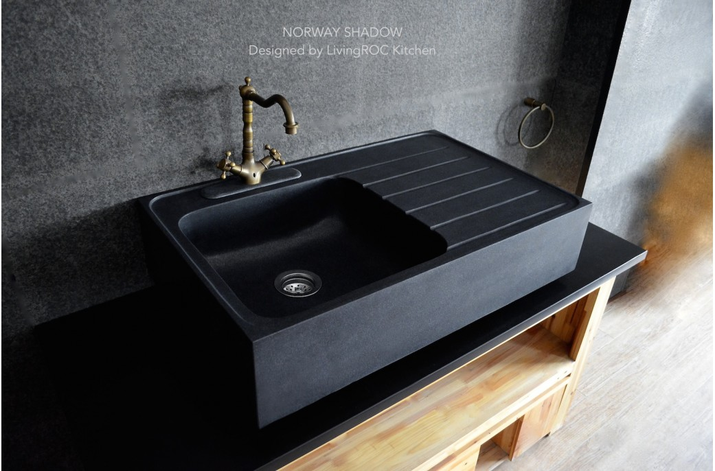 stone kitchen sink white countertops 900mm black granite norway shadow