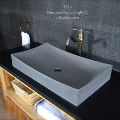 Standard Size Kitchen Sink Cabinet Doors With Glass 700mm Grey Basalt Stone Wash Bathroom Basin Concrete Look ...