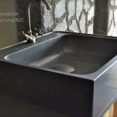 Stone Kitchen Sink Island With Bar Seating 700mm Pure Black Granite Lagos Shadow Basin