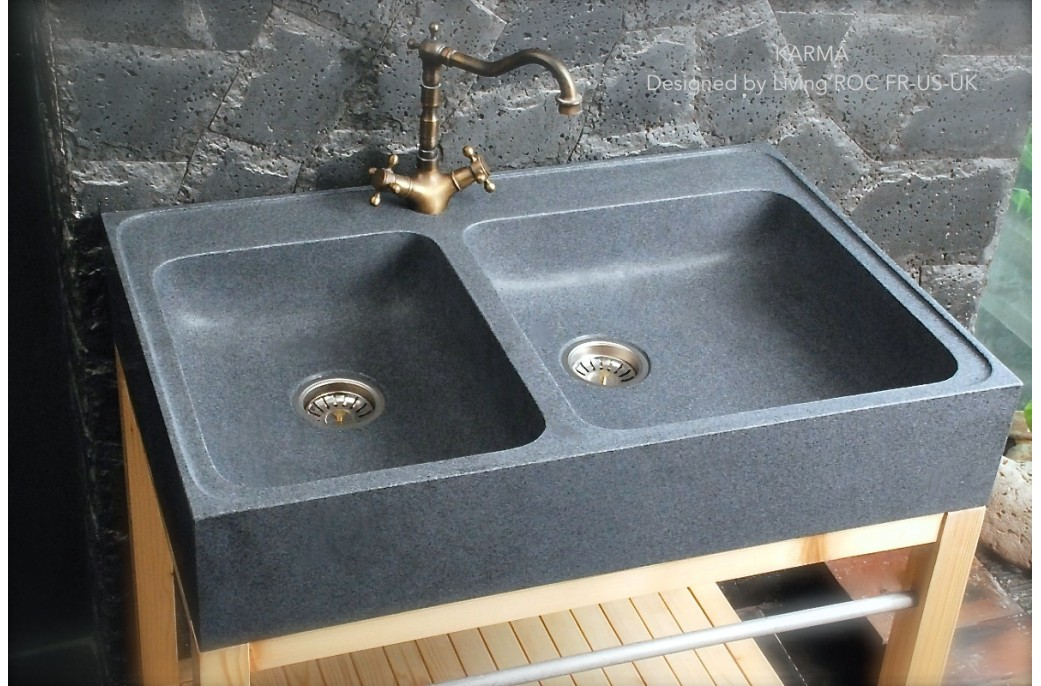 stone kitchen sink antique white cabinets 900mm genuine granite farmhouse karma view full size