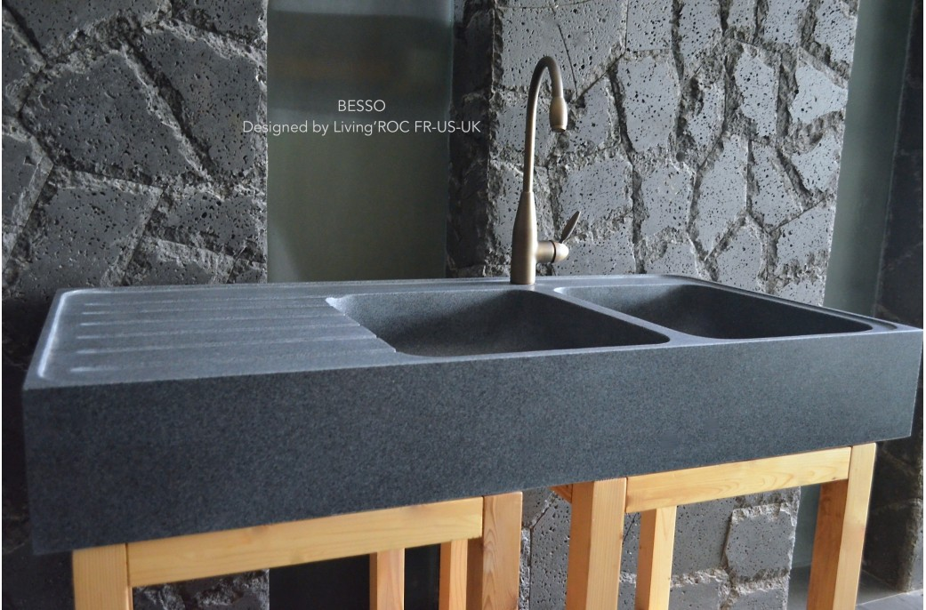stone kitchen sink lightweight cabinets 1200mm double bowl granite besso