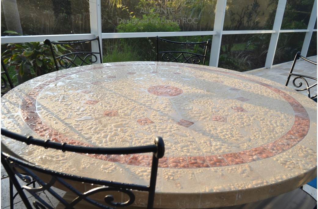 standard kitchen table size maple cabinets 125 -160cm outdoor mosaic round natural stone top ...
