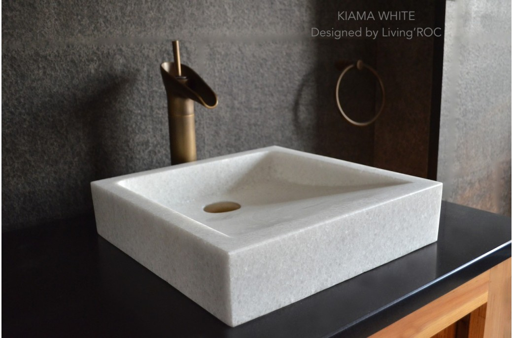 400mm Crystal White Marble Basin Bathroom Stone KIAMA WHITE