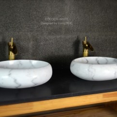 Round Marble Table And Chairs Chair A Half With Sleeper 500mm Oval White Stone Wet Room Wash Basin Sink Cocoon