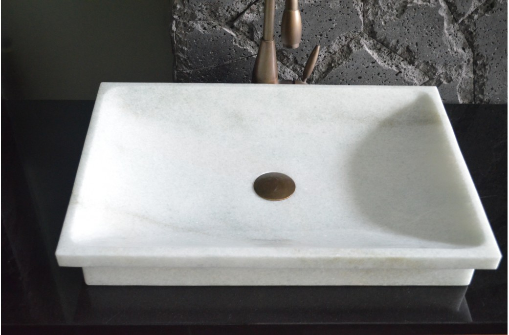 600mm Colour Crystal White Marble Bathroom Vessel Sink